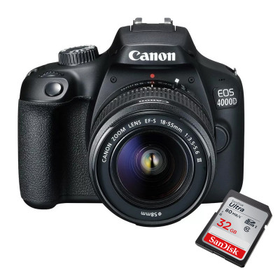 Cámara Canon 4000D 18MPX  Kit 18-55m  Wi-fi, Full HD + 32GB